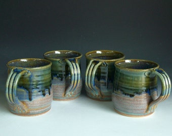Hand thrown stoneware pottery mugs set of 4  (M-16)