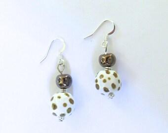 Kazuri Earrings, Gold and White Ceramic Earrings