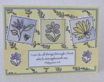 Spring Flowers, Encouragement Card, Spring Card, Christian Card, KJV Scripture, Handmade Card.