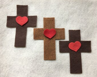 DIY Craft Kit Crosses and Hearts-VBS-Sunday School Craft Kits-Easter Cross and Heart Appliques-Planner Bookmarks-Bible Journaling