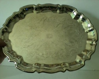 Large Vintage Ornate Silver Plate Scalloped Footed Serving Tray