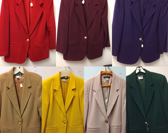 Wool Blazer Jacket Color Choice Red Purple Yellow Green Tan Pink Vintage Career Professional M 10