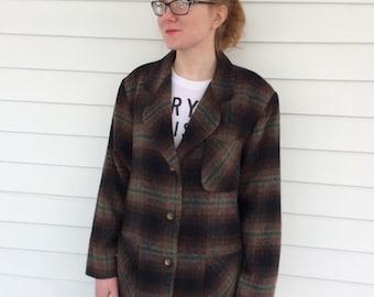 Brown Plaid Wool Blend Blazer Jacket Vintage 80s JL Colebrook M