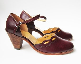 Vintage 1970s Shoes / Dead Stock Oxblood Mary Jane Heels Shoes / Size 6.5 / Size 7 Narrow