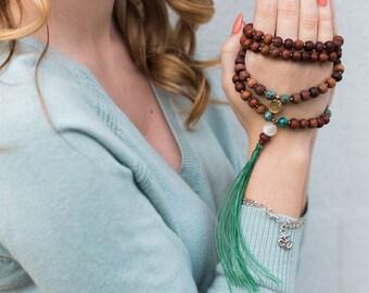 Beaded Tassel Necklace, Mala Necklace, Yoga Jewelry