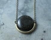 CIVAL Collective - Demi   Necklace   Brass Circle Necklace   Geometric Round Necklace   Mod 60s Stone Pendant   Dark Moon Necklace