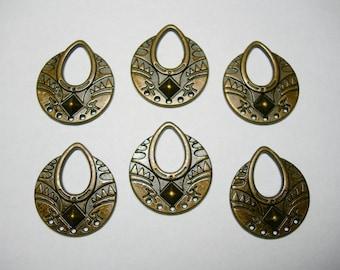 Antique Bronze Color Drops Charms Chandelier - Pendants - 25mm - 6