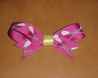 Lacrosse theme handcrafted hair bow -  burgundy & gold