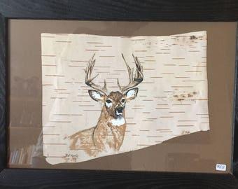 Buck Deer Hand Painted on Birch Bark, Framed