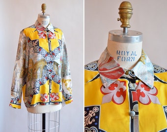 SALE / Vintage MOSCHINO couture silk novelty blouse