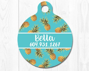 Dog Tag Pet ID Tag Dog Tags for Dogs Dog ID Tag Dog Tag Cat Tag Dog ID Tags Cat id Tags Pet Tags Pet id Tags for Dog Blue Pineapple