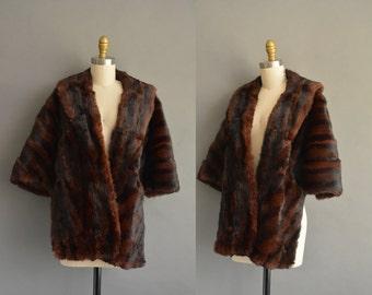 vintage 50s rich chocolate soft fur stole wrap. Winter fur coat.  vintage 1950s fur stole