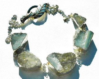 NEW Aquamarine Druzy Necklace / Sterling Silver / Artisan Clasp / Wire Wrapped / Light Blue / Gifts for Her