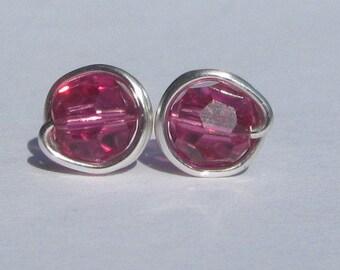 Fuchsia Stud Earrings (8mm), Swarovski Crystal Stud Earrings, Wire Wrapped Sterling Silver Stud Earrings, Pink Stud Earrings