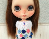 White - Yellow Embroidery Top for Blythe Doll