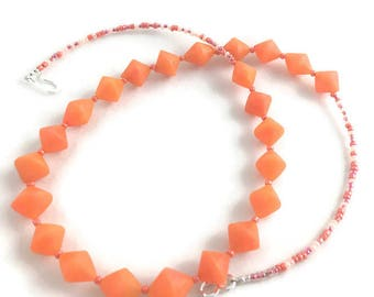 Tangerine dream polymer clay beaded necklace handmade bi cone beads