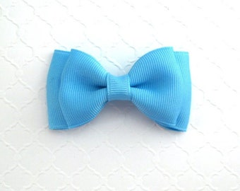 """Sky Blue Hair Bow ~ 3"""" Baby Toddler Girls Simple Classic Hair Bows"""