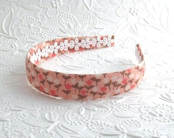 Coral Floral Girls Headband ~ Arched Plastic Fabric Covered Headband for Girls, Adults, Women