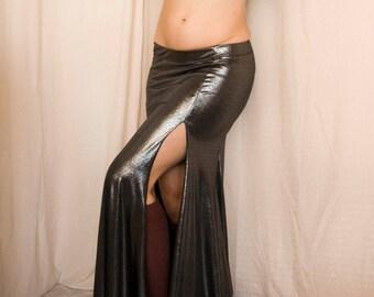 Ready-to-ship - Metallic Dark Silver Mermaid Skirt - Two Slit Silver fitted skirt Tribal Fusion Bellydance Skirt, burlesque