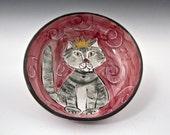 Ceramic Cat Feeding Dish - Pet Feeding Bowl - Tabby Cat - Cat Feeding Dish - Clay Pottery Majolica - Pet Food Bowl - Pink - Shallow Bowl