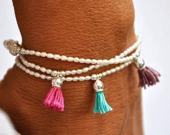 EASTER SALE Fresh water pearl and sterling silver tassel bracelet. Tassel Bracelet.