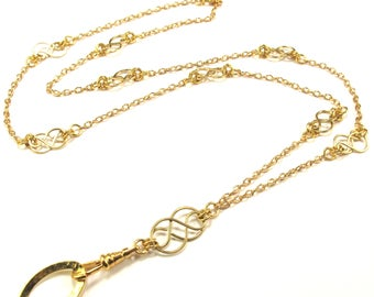 Fashionable Celtic Knot ID Badge Lanyard in Gold