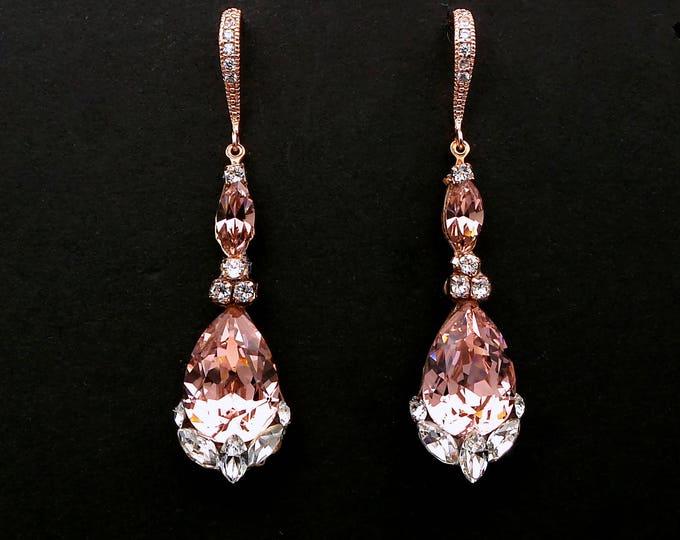 bridesmaid gift prom Swarovski vintage rose blush pink teardrop foiled crystal rhinestone drop with cubic zirconia rose gold hook earrings