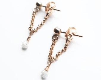 Stud drop earrings with diamond, ear jacket,