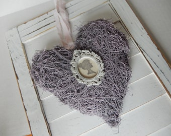 Rustic Moss Heart Silhouette Pink Romantic Chic Shabby Home Decor