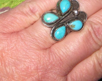 Butterfly Dreams Silver And Turquoise Retro Ring