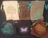 Reserved Listing for thevucrew Set of 6 Embroidered Tarot Bags