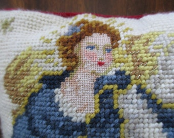 vintage needlepoint PILLOW with angel - blue and gold, red velvet back, petit point