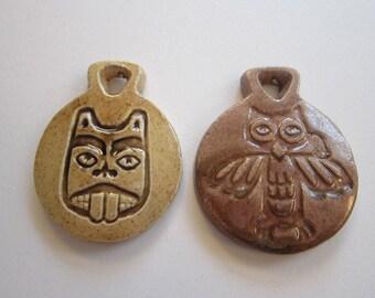 2 vintage ceramic pendants - glazed owl and beaver