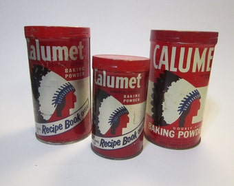 3 vintage CALUMET baking powder tins - Indian Chief graphics, metal tin, litho tin, vintage tins, baking soda tins