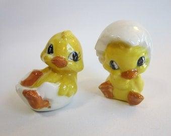 vintage Easter DUCKLING figurines - ceramic ducks - hatching ducklings