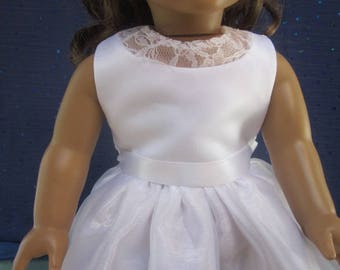 Doll communion dress with back detail will fit your 18 inch doll such as American Girl