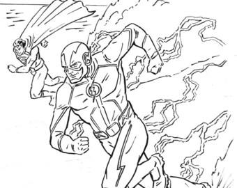 Speed Demons - Flash and Superman Ink Illustration