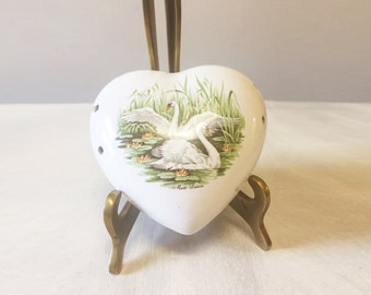 Vintage pomander, ceramic pomander, swan pomander, floral pomander, fragrance holder, swan collectible, porcelain pomander, potpourri holder
