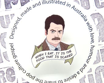 Parks and Recreation - Ron Swanson 'scary food' brooch