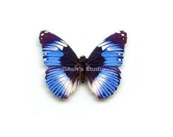 12 Small Paper Butterflies, Realistic 1 inch Paper Butterflies - Blue Diadem Butterfly