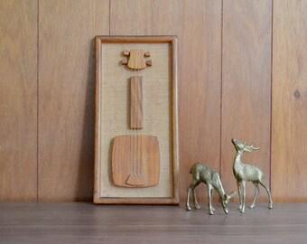 vintage tiki wood guitar wall hanging / enesco wall hanging / 1960s home decor