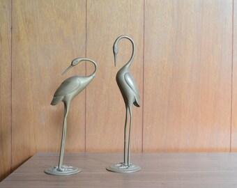 vintage large brass heron crane figurines / midcentury brass home decor / large brass bird
