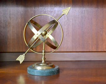 vintage mid-century marble and brass armillary sphere sundial / hollywood regency home decor / vintage sundial