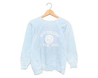 Vintage City College of New York Forest Light Blue Distressed Sweatshirt Made in USA - Small