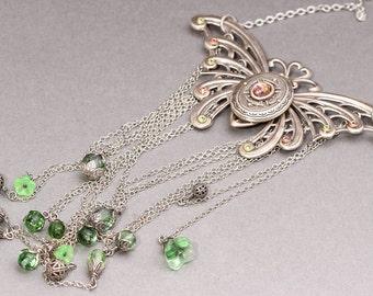 Silver Butterfly Necklace Butterfly Locket Large Butterfly Necklace