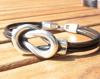 knot bracelet, bracelet knots, nautical bracelets, men's silver bracelet, knot leather bracelet, Mens Jewelry, bracelets for him, men gift