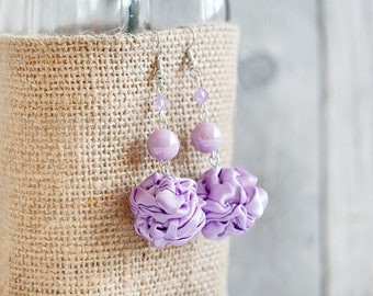 Lavender fabric bead Earrings, ruffled textile earrings, fabric jewelry, textile jewelry, dangle earrings, Unique Gift for Her