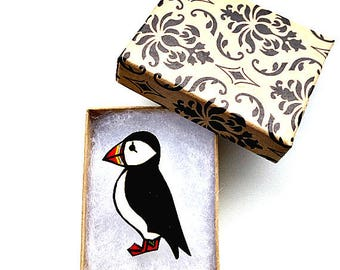 Puffin Brooch, Puffin Badge, Birds, Seabirds, Pin, Shrink Plastic, Gift for Her, For Mum, Jewellery, Mother's Day