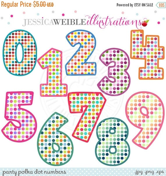 ON SALE Party Polka Dot Numbers Cute Digital Clipart - Commercial Use OK - Polka Dot Birthday Numbers - Number Design