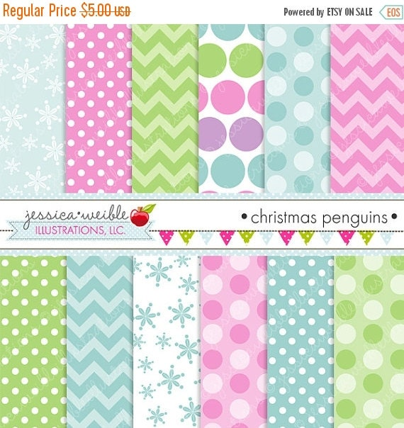 ON SALE Christmas Penguins Cute Digital Papers Backgrounds for Commercial or Personal Use, Winter Papers, Snow Background